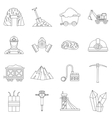 Miner icons set outline style vector image vector image