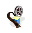 Movie Reel with Popcorn vector image vector image
