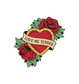 old school tattoo emblem label with heart rose vector image vector image