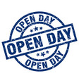 open day blue round grunge stamp vector image vector image
