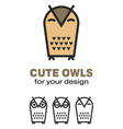 owl icons vector image vector image