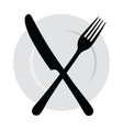 plate with a fork and knife logo with cutlery vector image