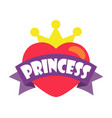 princess party heart and crown vector image vector image