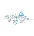 protection flat line design in blue vector image