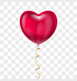 realistic heart shape red balloon with lace on vector image