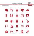 romance icon set vector image