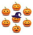 set bright colorful halloween pumpkins face vector image vector image