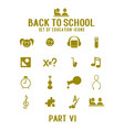 set gold school and education icons vector image