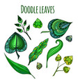 set of patterned doodle green leaves element for vector image