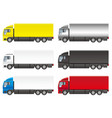 set of six heavy trucks on a white background vector image