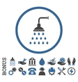 Shower Flat Rounded Icon With Bonus vector image vector image