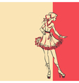 Sketch of stylish woman in dress in full length vector image