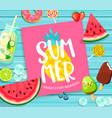 summer lettering on blue wooden background vector image