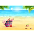 Summer with a beach bag in the sand vector image vector image