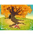 Tree in autumnal landscape