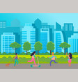 urban park people walking in park houses and vector image