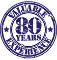 Valuable 80 years of experience rubber stamp vect vector image vector image