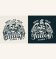 vintage tattoo studio emblem vector image vector image