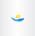 water wave sun tourism logo sign vector image vector image