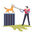 workman catching homeless dog with help of long vector image vector image