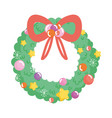 wreath garland ribbon merry christmas vector image