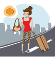 young woman with suitcase vector image