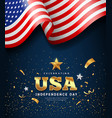 american flag waving independence day golden text vector image