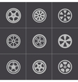 black wheel disks icons set vector image vector image