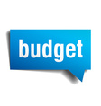 budget blue 3d realistic paper speech bubble vector image vector image
