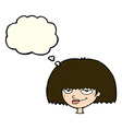 cartoon mean female face with thought bubble vector image vector image