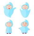 children with halloween costumes ghost cheerful vector image