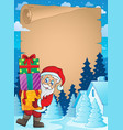 christmas theme parchment 2 vector image vector image