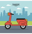 colorful poster of transport with scooter on the vector image vector image