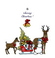 deer and snowman driven gifts vector image vector image