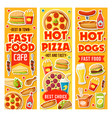 fast food burger pizza drinks and desserts vector image vector image