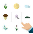 flat icon ecology set of monarch peak floral and vector image vector image