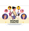 flat woman characters avatars collection vector image vector image