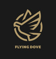 flying dove logo symbol on a dark background vector image vector image