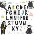 funny alphabet with cute sloths abc for children vector image