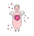 funny hand-drawn pig cupid with wings and heart vector image vector image
