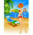 girl in a swimsuit on the beach vector image