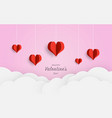 happy valentines day paper cut red heart and vector image vector image