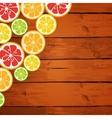 Lemon lime orange and grapefruit on wooden vector image vector image