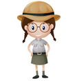 little girl in safari outfit vector image