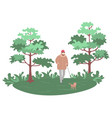 man walking dog in park nature forest vector image vector image