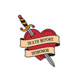 old school tattoo emblem label with dagger heart vector image vector image