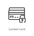 outline locked card icon isolated black simple vector image vector image