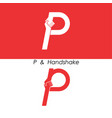 p - letter abstract icon and hands logo design vector image vector image