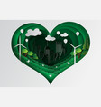 paper art style of heart green town with ecology vector image vector image