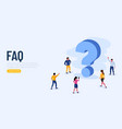 people characters standing near question marks vector image